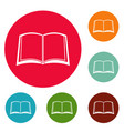book university icons circle set vector image