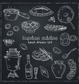 hand drawn set of russian cuisine pancake vector image