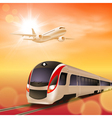 High-speed train and airplane in the sky vector image