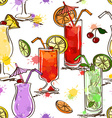 Seamless pattern of vivid cocktails vector image