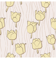 Seamless pattern with paper tulips vector image