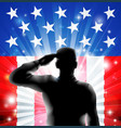 us flag military soldier saluting in silhouette vector image