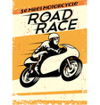 Vintage motorcycle racing poster vector image