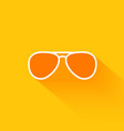 Orange summer sunglasses flat long shadow icon vector image