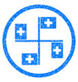 hospital flags rounded grainy icon vector image