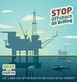 Stop offshore oil drilling vector image