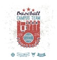 Emblem baseball campus team vector image