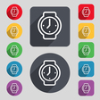 watches icon sign A set of 12 colored buttons and vector image