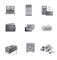 banking icons grayscale vector image
