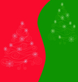 Christmas tree on red green background vector image