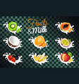 fruit and milk poster with transparent background vector image