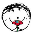 Happy green child vector image
