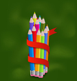 Set colorful pencils with ribbon vector image