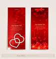 two vertical festive banner with hearts vector image