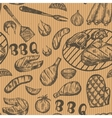 Pattern with barbecue food on craft paper Grill vector image