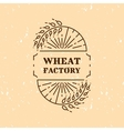 Wheat factory field logo line art icon vector image