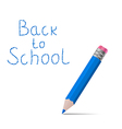 Back to school message with pencil on white vector image vector image