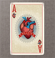 ace of hearts vintage playing card vector image vector image