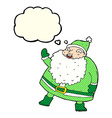 funny waving santa claus cartoon with thought vector image