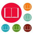 book novel icons circle set vector image