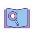 book with magnifying glass and paper page vector image