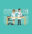 doctor and science technician doing research in vector image