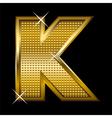 Golden font type letter K vector image