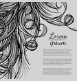hair doodle elements sketched waves on background vector image