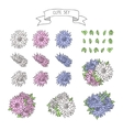 Hand drawn vintage floral elements for a wedding vector image