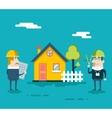 Happy Builder Designer Engineer Foreman Characters vector image