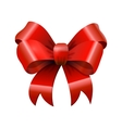 Red glossy shiny realistic bowtie bow with tails vector image