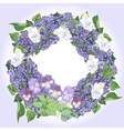Wreath with lilac and pansies vector image
