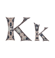 Low poly letter K in brown mosaic polygon vector image