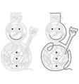 Snowman maze vector image