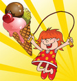 girl and a ice cream vector image