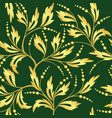 green and golden seamless floral texture vector image vector image