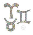 zodiac signs set aries taurus gemini horoscope vector image