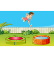 A boy on a trampoline vector image vector image