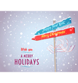 Road sign with arrows in Holiday directions vector image vector image