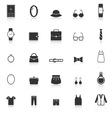 Dressing icons with reflect on white background vector image