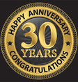 30 years happy anniversary congratulations gold vector image vector image