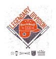Emblem baseball legendary division of college vector image