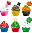 holiday cupcakes vector image