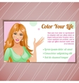 Card of beauty salon with woman eps10 vector image