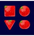 Cartoon red buttons Strawberry kit for game ui vector image