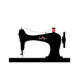 Old sewing machine silhouette with Love you text vector image