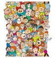 Seamless pattern with a funny cartoon people faces vector image