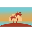 Silhouette of beach with big sun landscape vector image