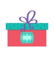Single red gift box with purple ribbon on vector image
