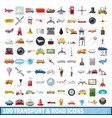 100 transport and road icons set cartoon style vector image